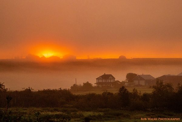 Photo of sunrise on Vinegar Hill, Milford, Nova Scotia